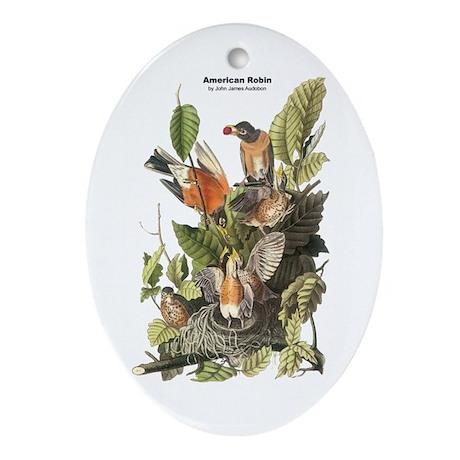 Audubon American Robin Birds Oval Ornament