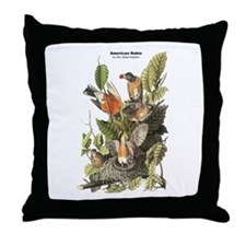 Audubon American Robin Birds Throw Pillow