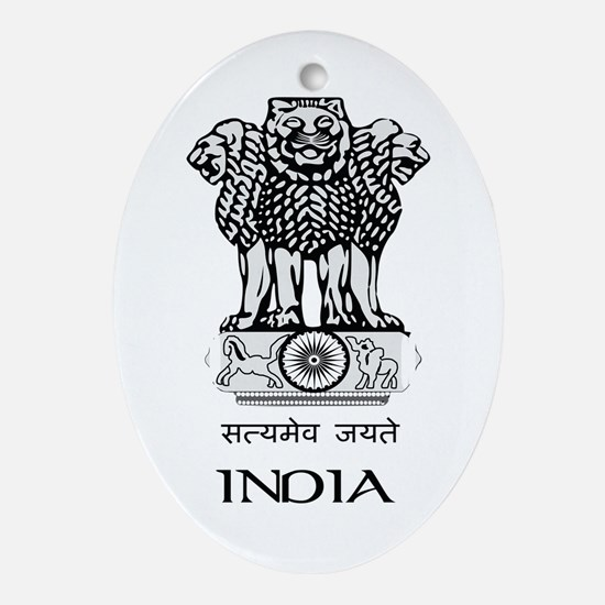 Emblem of India Oval Ornament