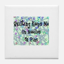 Quilting Pins and Needles Tile Coaster
