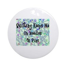 Quilting Pins and Needles Ornament (Round)