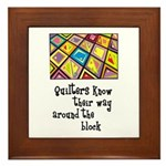 Quilters - Around the Block Framed Tile