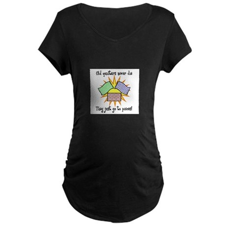 Old Quilters - Go To Pieces Maternity Dark T-Shirt