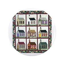 "Quilting - Colorful Church Qu 3.5"" Button"