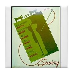 Vintage Sewing WPA Poster Tile Coaster