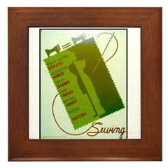 Vintage Sewing WPA Poster Framed Tile