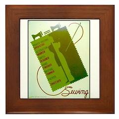 Vintage Sewing WPA Poster Framed Tile