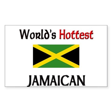 World's Hottest Jamaican Rectangle Sticker