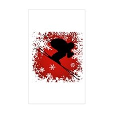 SKI DOWNHILL (RED) Rectangle Decal