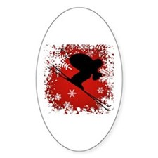 SKI DOWNHILL (RED) Oval Decal