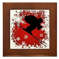 SKI DOWNHILL (RED) Framed Tile