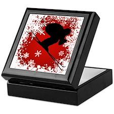 SKI DOWNHILL (RED) Keepsake Box