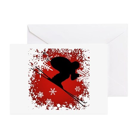 SKI DOWNHILL (RED) Greeting Cards (Pk of 20)