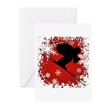 SKI DOWNHILL (RED) Greeting Cards (Pk of 10)