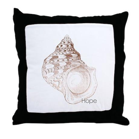 Hope - Sea Shell Mantra Throw Pillow