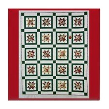 Christmas Holiday Quilt Tile Coaster