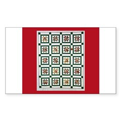 Christmas Holiday Quilt Rectangle Sticker 10 pk)