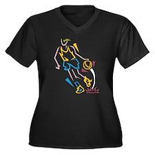 Basketball Player Women's Plus Size V-Neck Dark T-