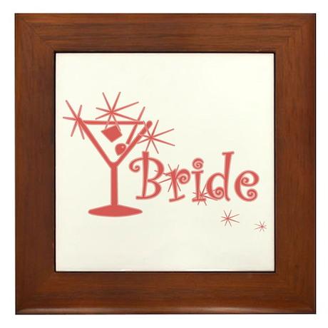 Red Curly Martini Bride Framed Tile