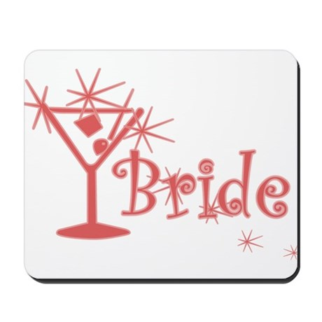 Red Curly Martini Bride Mousepad