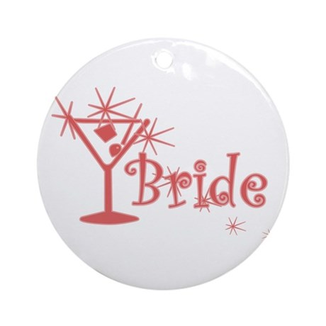 Red Curly Martini Bride Ornament (Round)