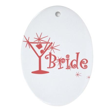 Red Curly Martini Bride Oval Ornament