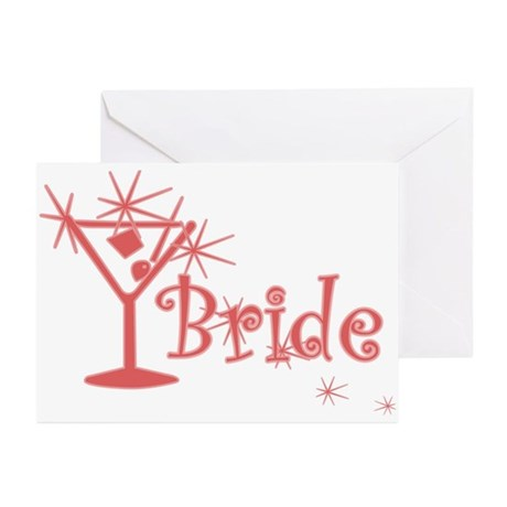 Red Curly Martini Bride Greeting Cards (Pk of 10)