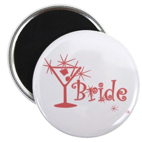 "Red Curly Martini Bride 2.25"" Magnet (10 pack)"