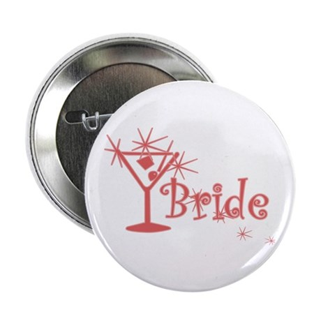 """Red Curly Martini Bride 2.25"""" Button (10 pack)"""