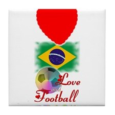 Brasil Love and Football - Tile Coaster