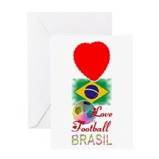 Brasil Love and Football - Greeting Card
