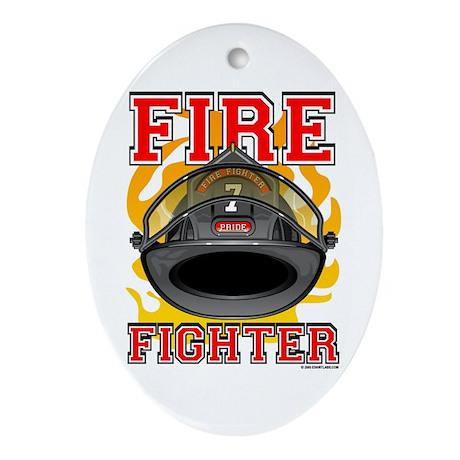 Fire Fighter - Black Helmet Keepsake (Oval)