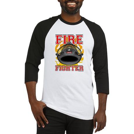 Fire Fighter - Black Helmet Baseball Jersey