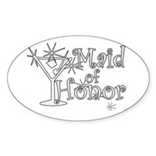 White C Martini Maid Honor Oval Decal