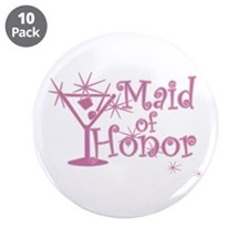 "Pink C Martini Maid Honor 3.5"" Button (10 pack)"