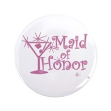 "Pink C Martini Maid Honor 3.5"" Button"