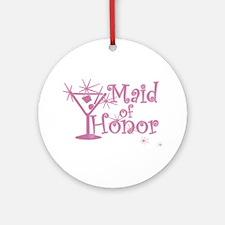 Pink C Martini Maid Honor Ornament (Round)