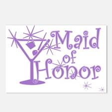 Purple C Martini Maid Honor Postcards (Package of