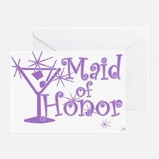 Purple C Martini Maid Honor Greeting Card