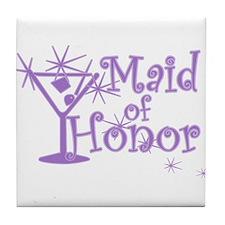 Purple C Martini Maid Honor Tile Coaster