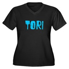 Tori Faded (Blue) Women's Plus Size V-Neck Dark T-