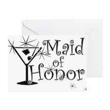 Black C Martini Maid Honor Greeting Card