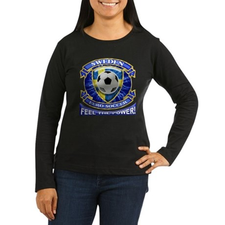 Sweden Soccer Power Women's Long Sleeve Dark T-Shi