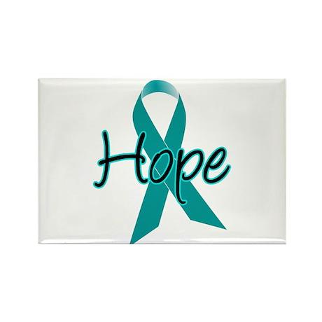 Hope Teal Ribbon Rectangle Magnet (10 pack)