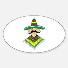 Cinco de Mayo Mexican Guy Oval Decal
