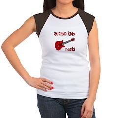 Autistic Kids Rock! Red Guit Women's Cap Sleeve T-
