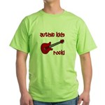 Autistic Kids Rock! Red Guit Green T-Shirt