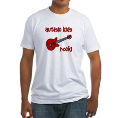 Autistic Kids Rock! Red Guit Fitted T-Shirt