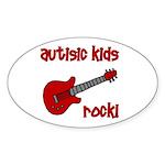 Autistic Kids Rock! Red Guit Oval Sticker