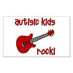 Autistic Kids Rock! Red Guit Rectangle Sticker
